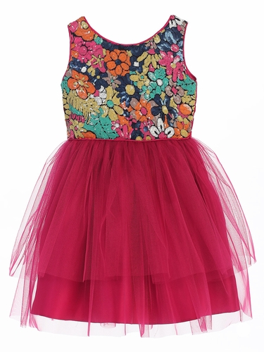 Fuchsia Flower Sequin Top w/ 2 Tier Tulle Dress