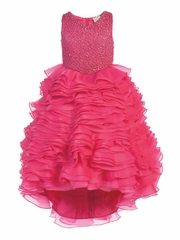 Fuchsia Gwen and Zoe V-Neck Sparkle Ruffle High Low Dress