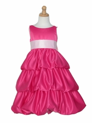 Fuchsia Layered Satin Bubble Dress w/ Pink Sash