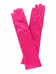 Fuchsia Long Satin Gloves