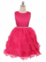 Fuchsia Matte Satin Soft Organza Special Occasion Dress