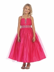 Fuchsia Mesh Pageant Dress w/ Beaded Waistband