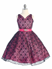 Fuchsia/Navy Lace Contrast Satin Sleeveless Dress w/ Satin Sash & Brooch