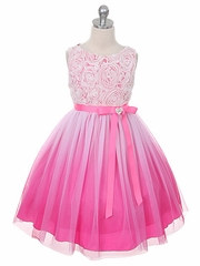 Pink flower girl dresses pinkprincess fuchsia ombre dress w rosette bodice mightylinksfo Image collections