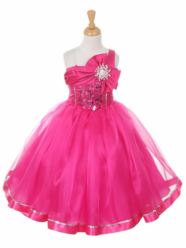 Fuchsia One Shoulder Sparkle Organza Dress