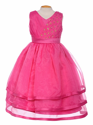 Fuchsia Organza Embellished V-Neck Three Layer Dress