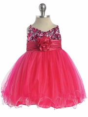 Fuchsia / Pink Sequined Bodice Pageant Dress
