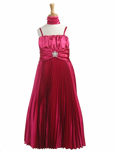 Fuchsia Pleated Shiny Satin Long Dress
