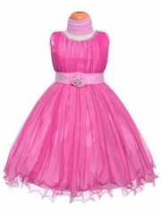 Fuchsia Pleated Tulles & Jewels Dress