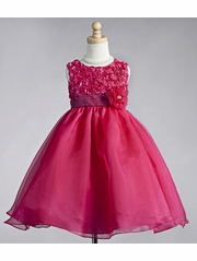 Fuchsia Ribbon Embroidered Rosebuds with Tulle Skirt