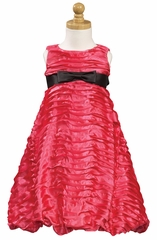 Fuchsia Ribboned Taffeta A-Line Dress
