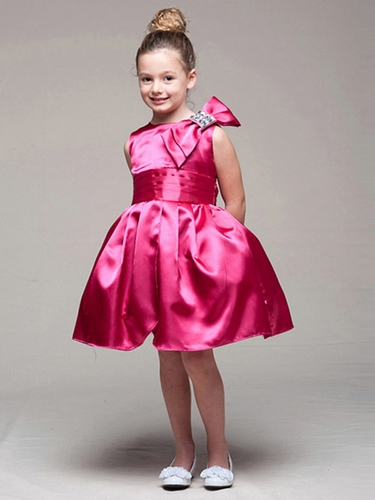 Fuchsia Satin Bodice Tulip Dress w/ Left Shoulder Bow