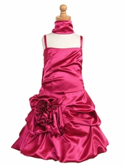 CLEARANCE - Fuchsia Satin Bubble Dress w/ Gathered Flower & Shawl