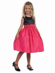 Fuchsia Satin Dress w/ Black Bodice