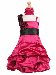 Fuchsia Satin Gathered Bubble Dress w/ Two Tone Flower