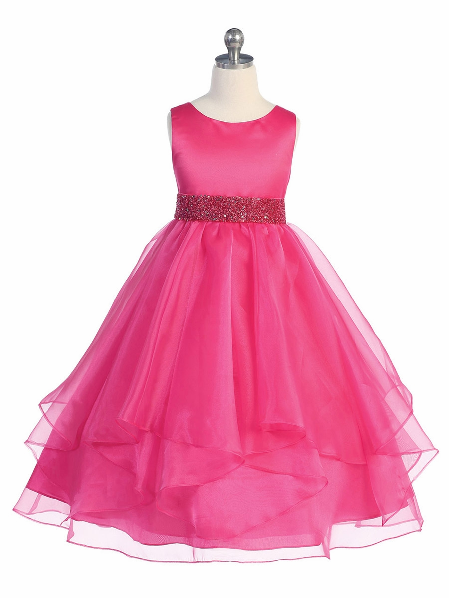 Junior bridesmaid long fuschia dresses