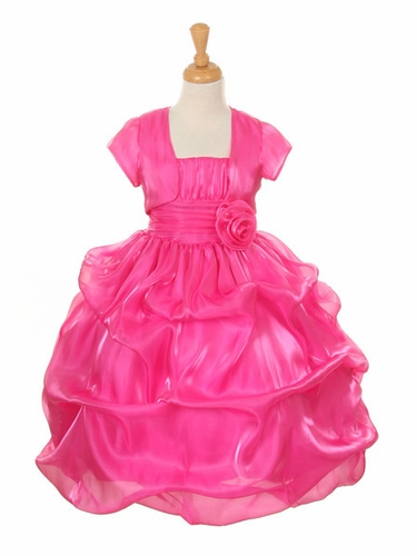 Fuchsia Satin Organza Pickup Dress w/ Gathered Top & Bolero