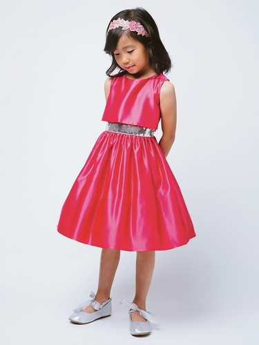 Fuchsia Satin w/ Sequin Waist Trim Dress