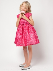 Fuchsia Sequin & Embroidery Organza Dress