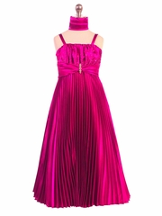 Fuchsia Shiny Satin Pleated Long Dress