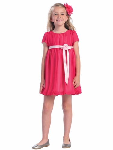 Fuchsia Short Chiffon Dress w/Satin Ribbon