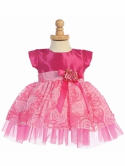 Fuchsia Short Sleeve Taffeta w/ Tulle Ribbon Skirt Dress