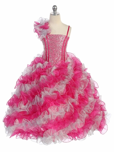 Fuchsia & Silver Diagonal Ruffle Dress w/ Sparkle Bodice