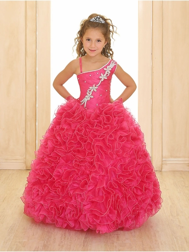 Fuchsia Single Shoulder Strap Pageant Gown