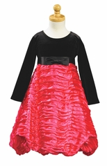 Fuchsia Stretch Velvet Bodice w/ Ribboned Embroidered Taffeta Skirt