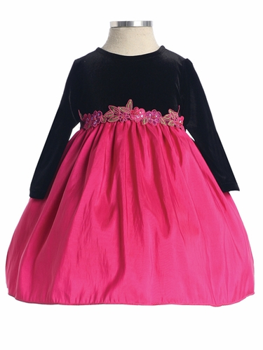 Fuchsia Stretch Velvet Long Sleeve w/Taffeta Skirt