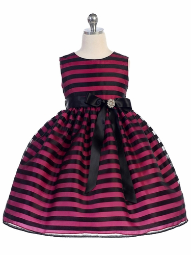 Fuchsia Striped Organza Overlay Ribbon Dress