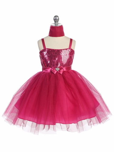 Fuchsia Sweet Heart Sequin Bodice w/ Crystal Tulle Skirt