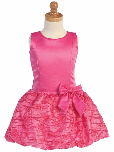 Fuchsia Taffeta Drop Waist Dress