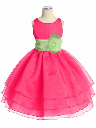 Fuchsia Three Layer Organza Dress