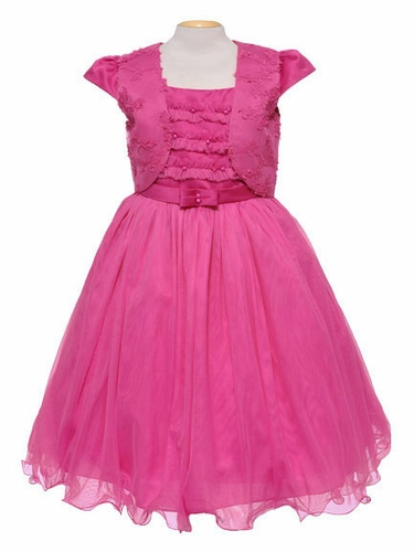 Fuchsia Tulle & Pearl Sleeveless Dress w/ Bolero