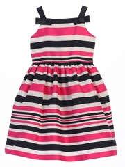 Fuchsia Woven Striped Organza w/ Shoulder Bows Dress