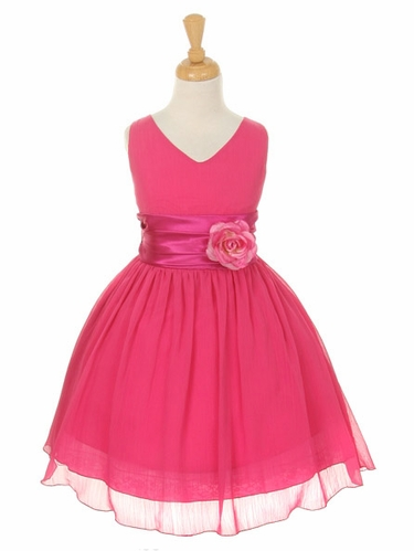 Fuchsia Yoryu Chiffon Double V-Neck Dress