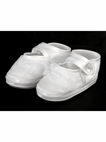 Girls Baptism Christening Satin Booties w/ Lace