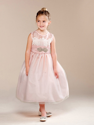 Girls Blush Vintage Lace & Brooch Dress