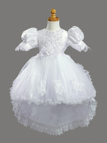 Girls Christening 2 Piece White Crystal Organza & Tuile w/ Detachachle Train