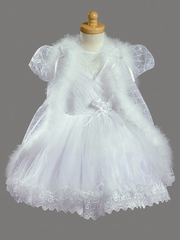 Girls Christening 2 Piece Embroided Organza & Tulle w/ Cape