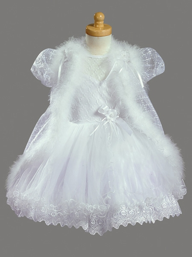 Girls Christening 2 Piece Embroidered Dress