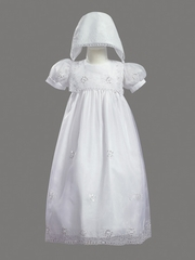 Girls Christening 2 Piece Embroidered Organza Gown