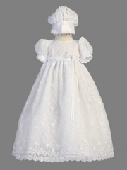Girls Christening 2 Piece Flower Embroidered Tulle Gown