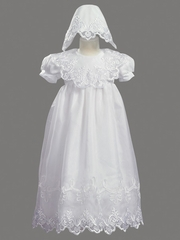 Girls Christening 2 Piece Organza Gown Embroidered