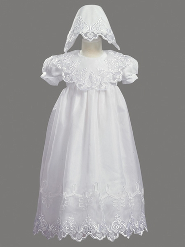 Girls Christening 2 Piece Organza Dress Embroidered