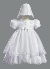 Girls Christening 2 Piece Satin Dress w/ Organza Overlay