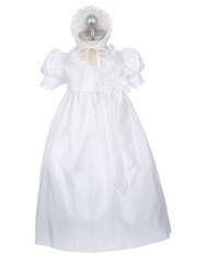 Girls Christening 2-Piece Taffeta w/ Lace Trim Gown