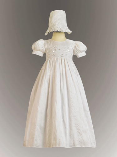 Girls Christening Laced Bodice Silk Christening Gown