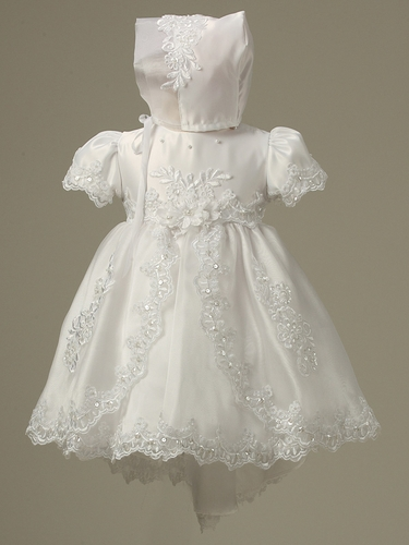 Girls Christening Sequin Embroidered Organza Dress